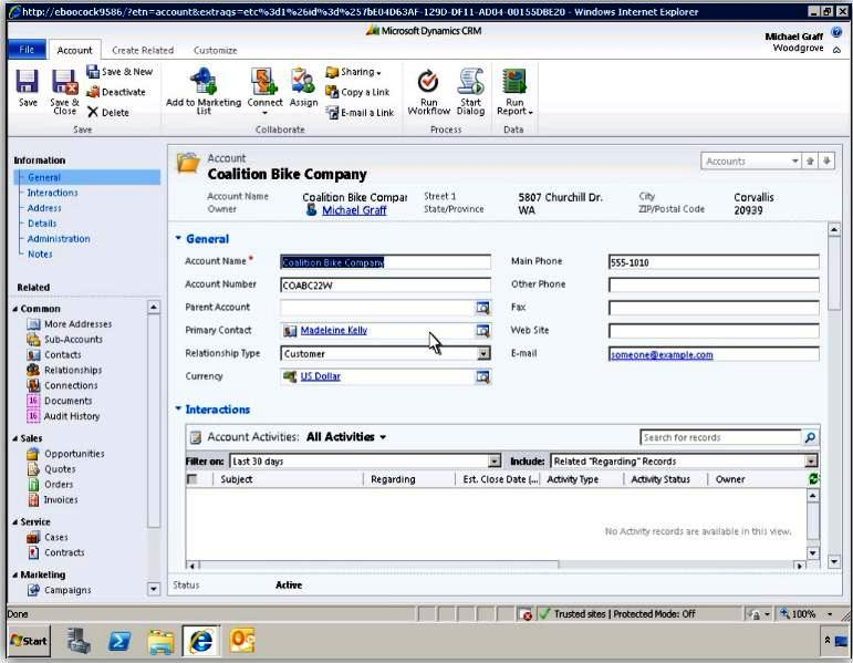 Account di Dynamics CRM 2011 beta